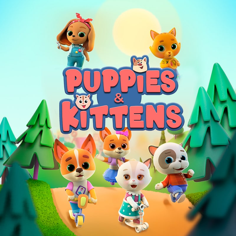 'PUPPIES AND KITTENS' cartoon poster